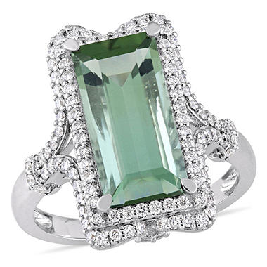 4.20 CT Baguette-Cut Green Tourmaline and 0.50 CT Diamond Halo Cocktail Ring in 14k White Gold