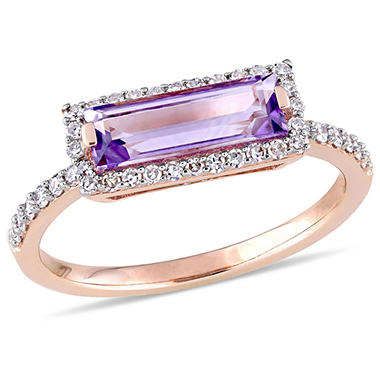 1.20 CT Baguette-Cut Amethyst and 0.25 CT Diamond Halo Ring in 14k Rose Gold