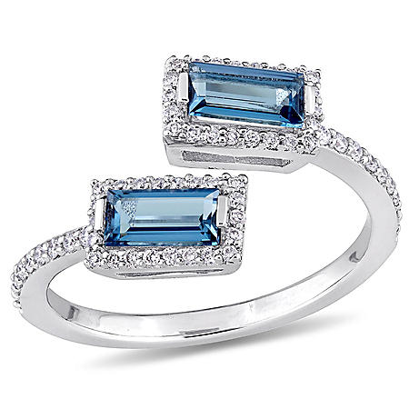0.88 CT Baguette-Cut London-Blue Topaz and 0.25 CT Diamond Halo Bypass Ring in 14k White Gold