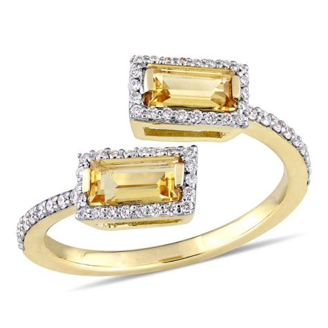 0.76 CT Baguette-Cut Citrine and 0.25 CT Diamond Halo Bypass Ring in 14k Yellow Gold