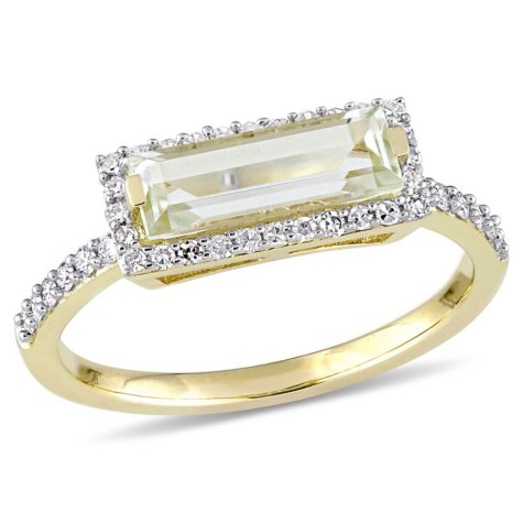 1.20 CT Baguette-Cut Green Amethyst and 0.25 CT Diamond Halo Ring in 14k Yellow Gold