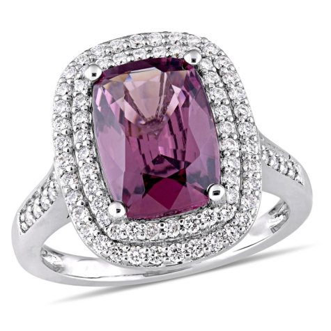 Allura 3.90 CT Cushion-Cut Spinel and 1 CT Diamond Double Halo Ring in 14k White Gold