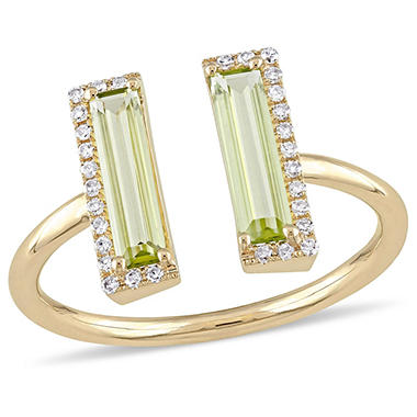 1 CT Baguette-Cut Peridot and 0.10 CT Diamond Bypass Ring in 14k Yellow Gold