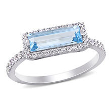 1.89 CT Baguette-Cut Blue Topaz and White Sapphire Halo Ring in Sterling Silver