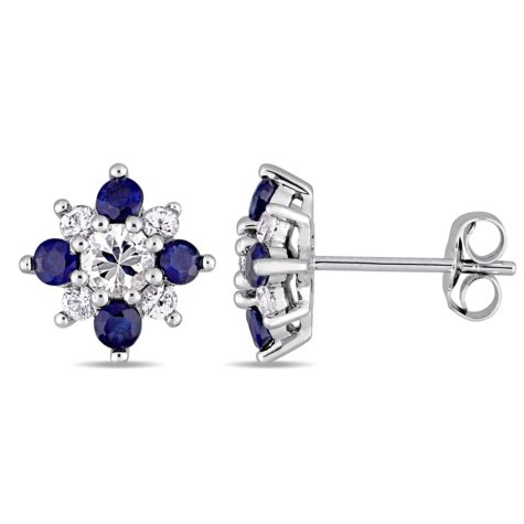 1.56 CT. T.W. White and Blue Sapphire Star Stud Earrings in 14K White Gold