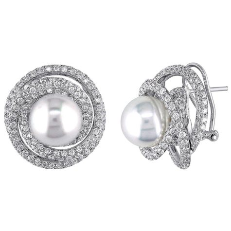 Allura 11-12 mm White Round South Sea Pearl with 4.04 CT. T.W. Diamond Swirl Stud Earrings in 18K White Gold