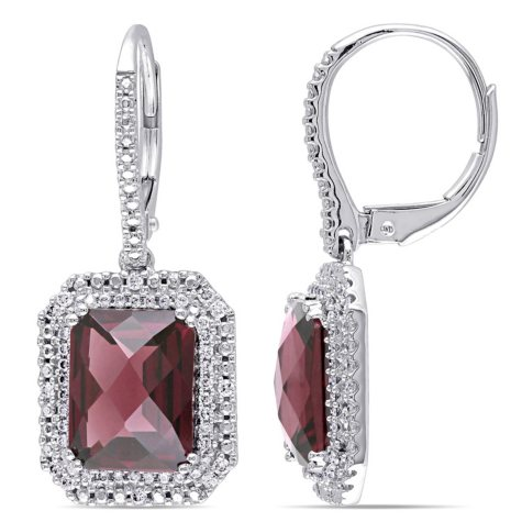 Allura 7.54 CT. T.W. Rhodolite and 0.34 CT. T.W. Diamond Dangle Halo Earrings in 14K White Gold