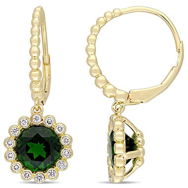 2.82 CT. T.W. Chrome Diopside and 0.28 CT. Diamond Dangle Halo Earrings in 14K Yellow Gold