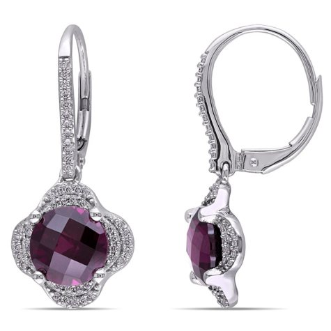 5.18 CT. T.W. Rhodolite and 0.28 CT. T.W. Diamond Dangle Halo Earrings in 14K White Gold