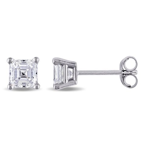 Allura 0.9 CT. T.W. Asscher-Cut Diamond Solitaire Stud Earrings in 14K White Gold