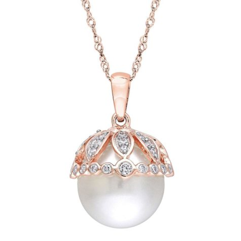 9-9.5 mm White Round Freshwater Cultured Pearl with 0.27 CT. Diamond Drop Pendant in 14K Rose Gold