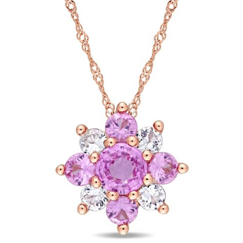 1.6 CT. T.W. Pink and White Sapphire Star Pendant in 14K Rose Gold