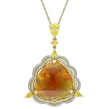 25.16 CT. T.W. Ethiopian Opal and Yellow Sapphire with 0.32 CT. T.W. Diamond Drop Pendant in 14K Yellow Gold