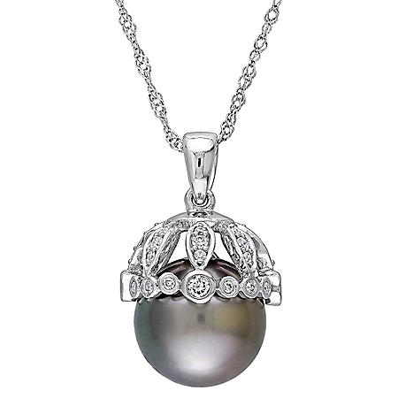 9-9.5 mm Black Round Tahitian Pearl with 0.27 CT. T.W. Diamond Drop Pendant in 14K White Gold
