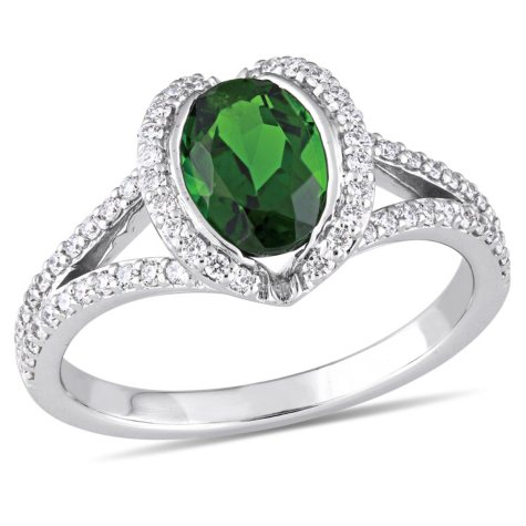 1.5 CT. T.W. Oval-Cut Chrome Diopside and 0.33 CT. T.W. Diamond Halo Engagement Ring in 14K White Gold