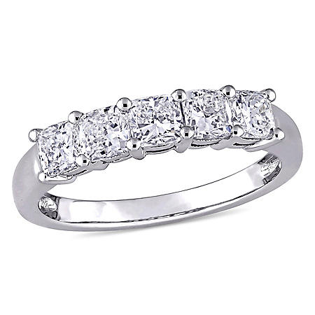 Allura 1.21 CT. T.W. Cushion-Cut Diamond Five Stone Ring in 14K White Gold