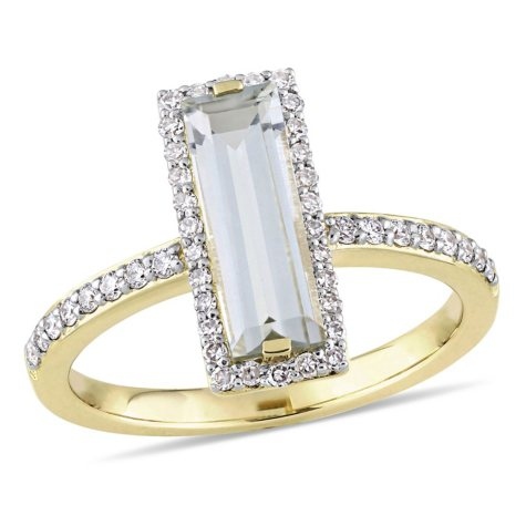 1.5 CT. T.W. Baguette-Cut Green Amethyst and 0.29 CT. T.W. Diamond Halo Bar Ring in 14K Yellow Gold