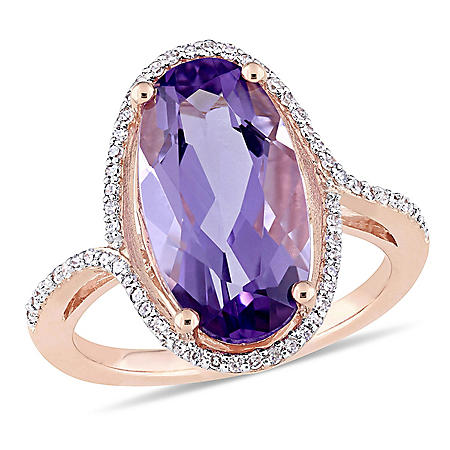 4.3 CT. Oval-Cut Amethyst and 0.19 CT. Diamond Halo Cocktail Ring in 14K Rose Gold