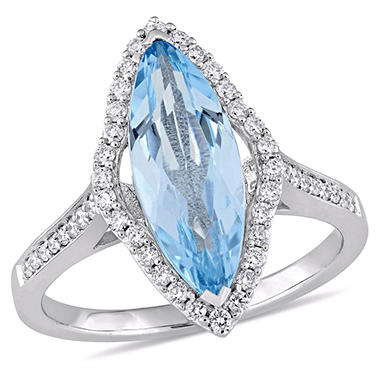 2.75 CT. T.W. Marquise-Cut Blue Topaz and 0.32 CT. T.W. Diamond Halo Ring in 14K White Gold