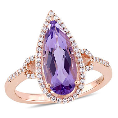 2.28 CT. T.W. Pear-Cut Amethyst and 0.24 CT. T.W. Diamond Halo Ring in 14K Rose Gold