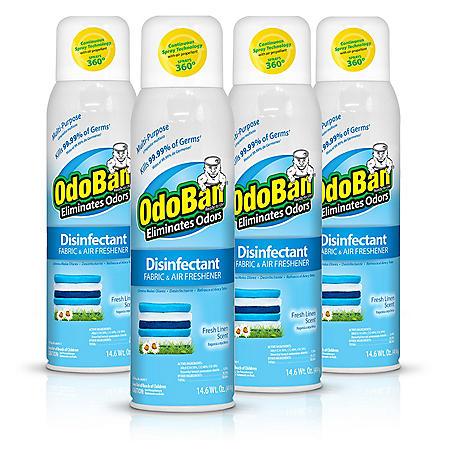 Odoban Disinfectant Fabric and Air Freshener Spray, Fresh Linen Scent (14 oz., 4 pk.)