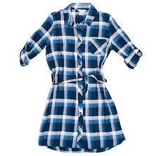 Designer Ladies' Belted Plaid Shirtdress