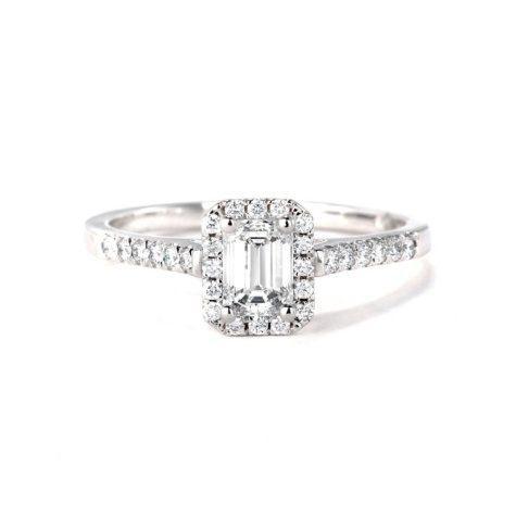 Premier Diamond Collection 0.77 CT. T.W. Emerald Diamond Halo Ring in 18K White Gold - GIA & IGI (E, VS2)