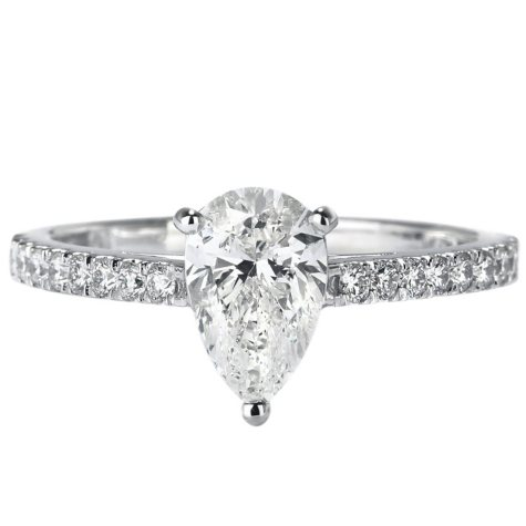 Premier Diamond Collection 1.24 CT. T.W. Pear Shape Diamond Ring in 18K White Gold - GIA & IGI (H, SI2)
