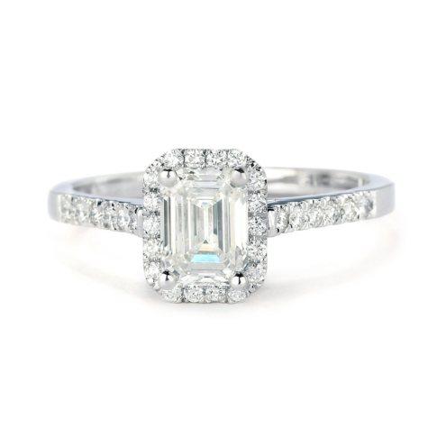 Premier Diamond Collection 1.26 CT. T.W. Emerald Diamond Halo Ring in 18K White Gold - GIA & IGI (H, VS1)