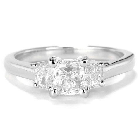 Premier Diamond Collection 1.56 CT. T.W. Radiant Diamond Three-Stone Engagement Ring in 14K White Gold - IGI (G-H, SI2-I1)