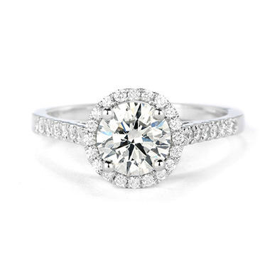 Premier Diamond Collection 1.31 CT. T.W. Round Brilliant Diamond Halo Ring in 18K White Gold - GIA & IGI (I, SI1)