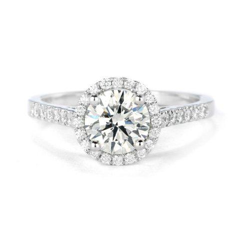 Premier Diamond Collection 1.31 CT. T.W. Round Brilliant Diamond Halo Ring in 18K White Gold - GIA & IGI (I, SI1)