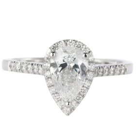 Premier Diamond Collection 1.27 CT. T.W. Pear Shape Diamond Halo Ring in 18K White Gold - GIA & IGI (D, VS1)