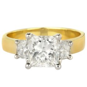 Premier Diamond Collection 2.40 CT. T.W. Princess Diamond Three-Stone Ring with Platinum Head in 18K Yellow Gold - IGI (H, VS2)