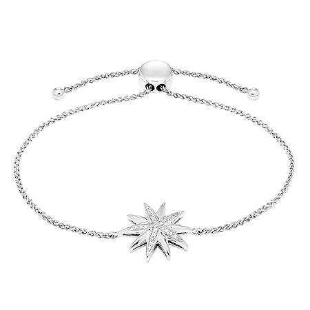 0.10 CT. T.W. Sterling Silver Diamond Starburst Bolo Bracelet
