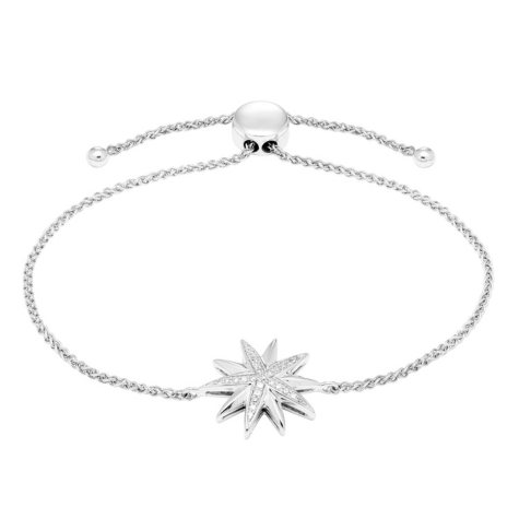 0.10 CT. T.W. Sterling Silver Diamond Starburst Bolo Bracelet