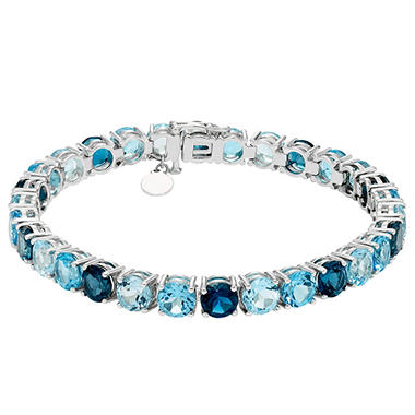 T W Blue Topaz Bracelet In Sterling Silver