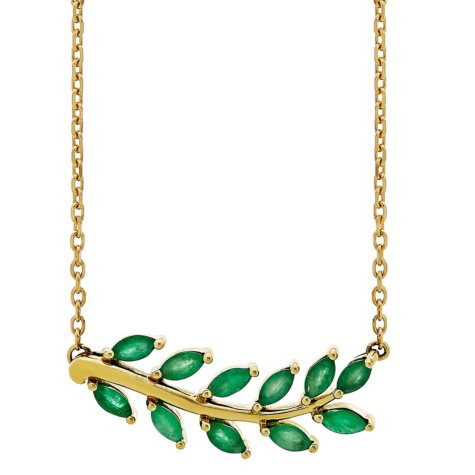 Emerald Leaf Necklace in 14K Yellow Gold