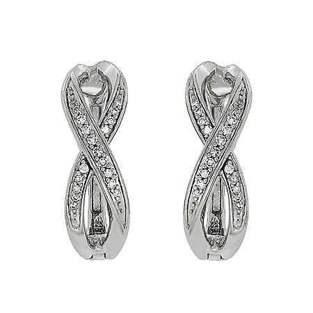 0.16 CT. T.W. Diamond Infinity Hoop in Sterling Silver