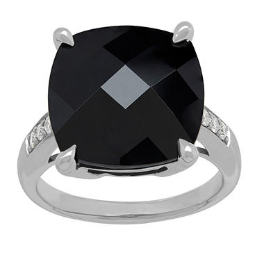 Onyx and .10 CT. T.W. Diamond Ring in Sterling Silver