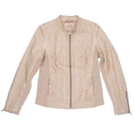 Designer Women's XXL Taupe Faux Leather Moto Jacket