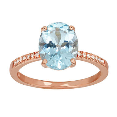 Aquamarine Ring with Diamond Accent in 14K Rose Gold