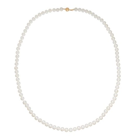 """6-7mm White Freshwater Cultured Pearl 18"""" Strand Necklace with 14K Yellow Gold Clasp"""