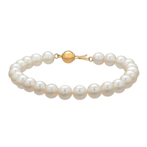 7-8mm White Freshwater Cultured Pearl Bracelet with 14K Yellow Gold Clasp