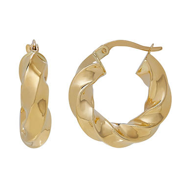 14K Yellow Gold Chunky Twist Round Hoop Earrings