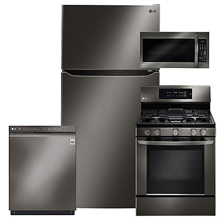LG - LTCS24223D, LRG3061BD, LMV2031BD, LDF5545BD Black Stainless Steel Kitchen Suite (GAS)