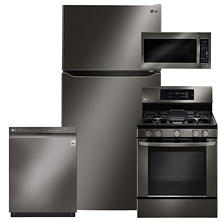 LG LTCS24223D, LRG3061BD, LMV2031BD, LDF5545BD Black Stainless Steel Kitchen Suite (GAS)