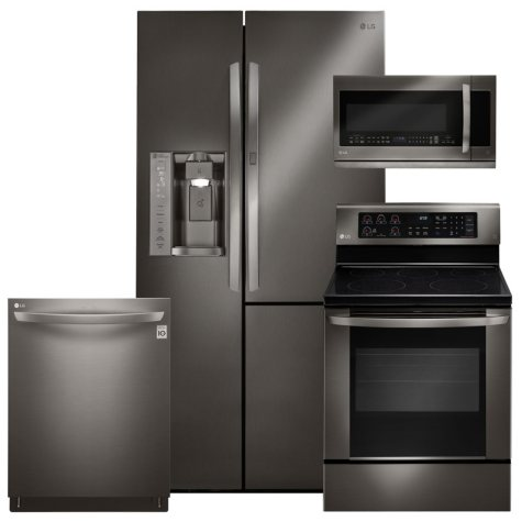 LG Black Stainless Steel Kitchen Suite - LSXS26366D, LRE3061BD, LMHM2237BD, LDT5665BD