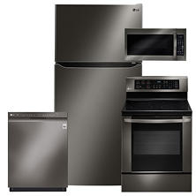 Superieur LG LTCS24223D, LRE3061BD, LMV2031BD, LDF5545BD Black Stainless Steel Kitchen  Suite