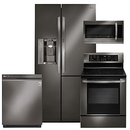 LG - Black Stainless Steel Kitchen Suite - LSXS26366D, LRE3061BD, LMHM2237BD, LDF5545BD